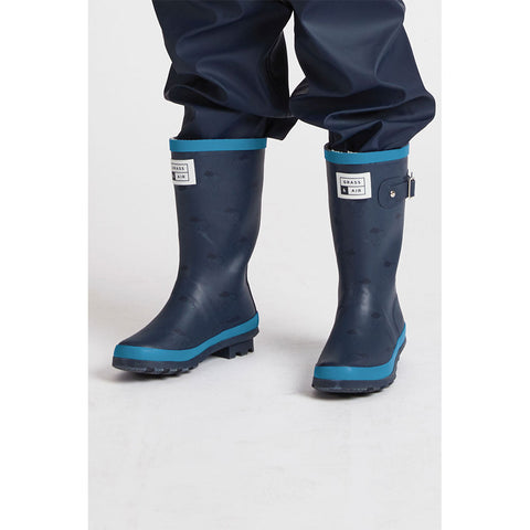 Older Kids Navy & Turquoise Wellies