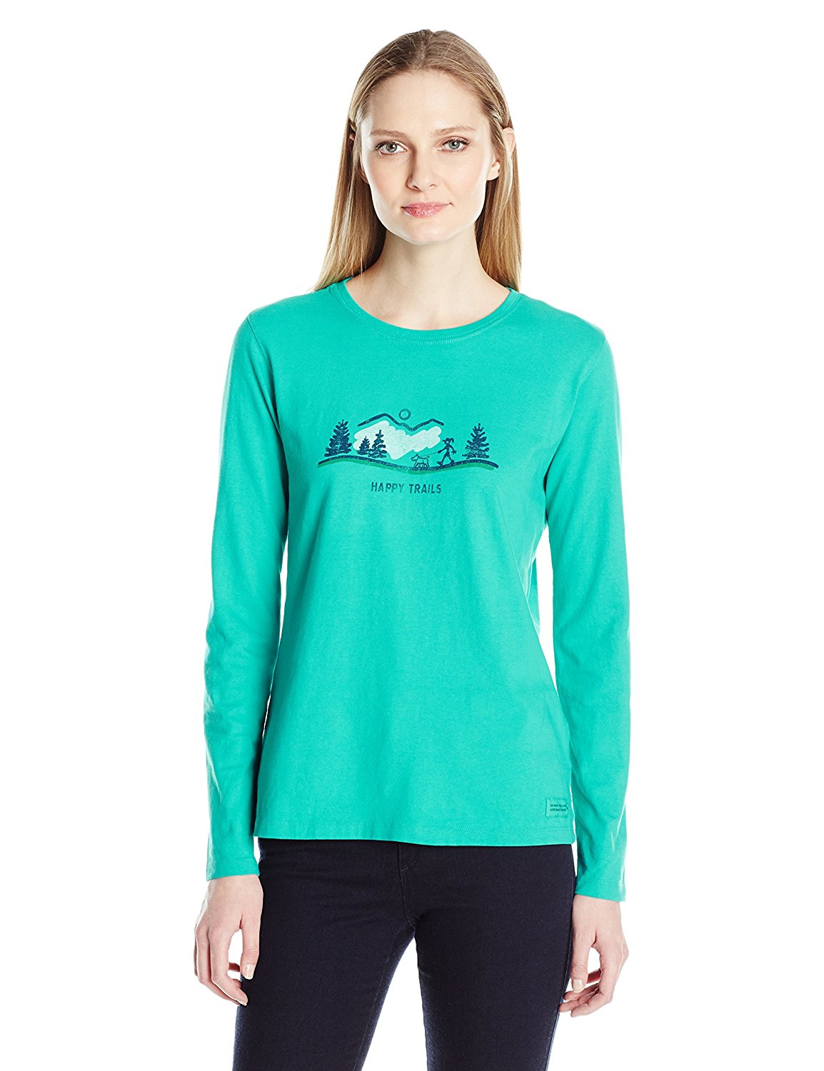 Happy Trails Dog Walk Long Sleeve Crusher T-Shirt by Life is good