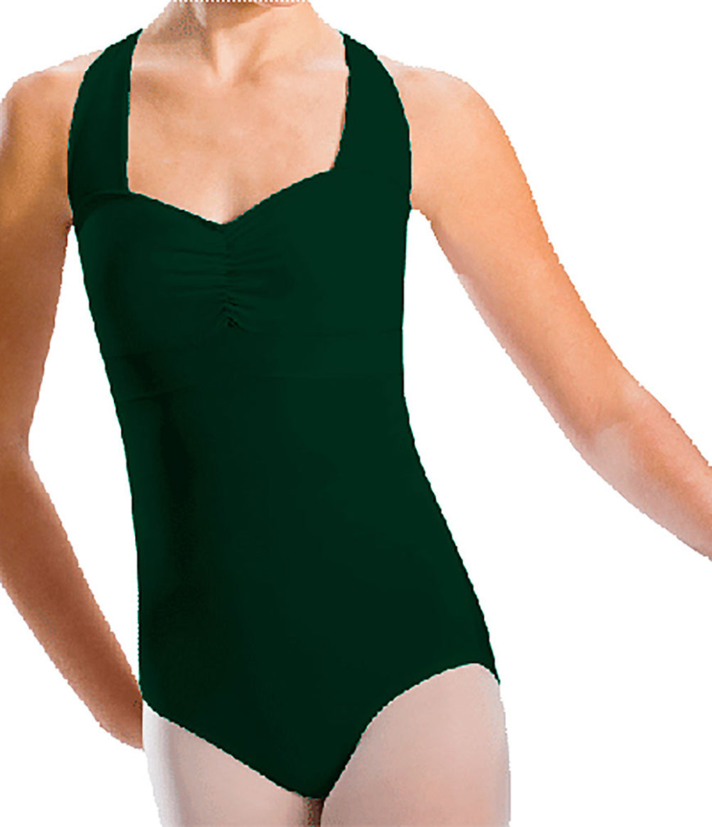 Pinch Front Cross Back Banded Leotard by Motionwear