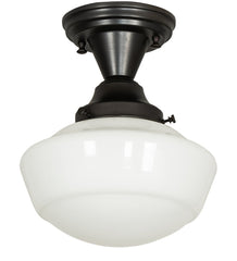 Schoolhouse milk glass flush mount light