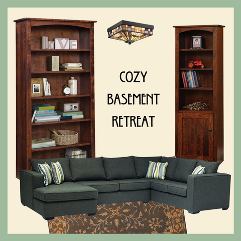 Basement Furniture with bookcases and sectional