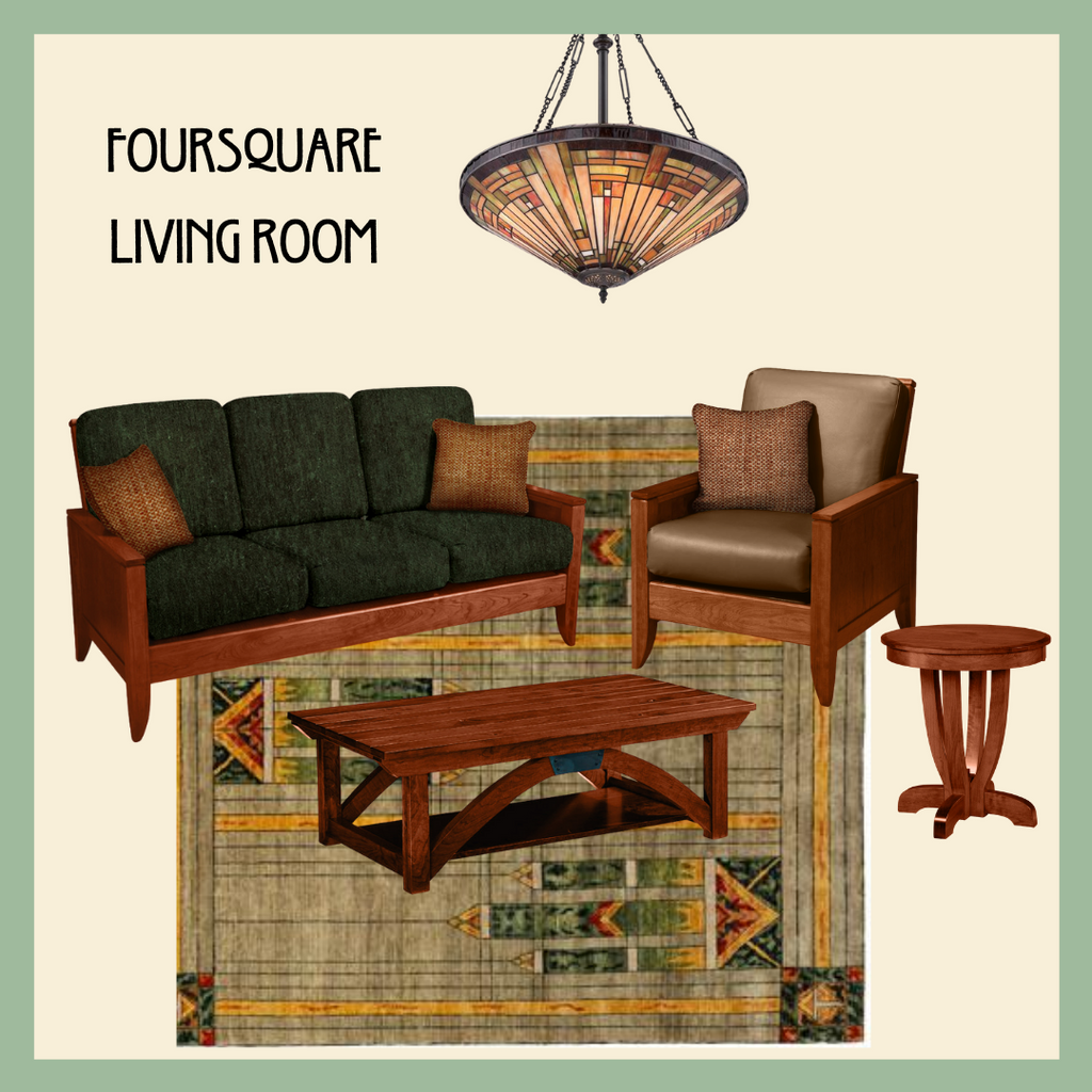 Green Foursquare Living Room