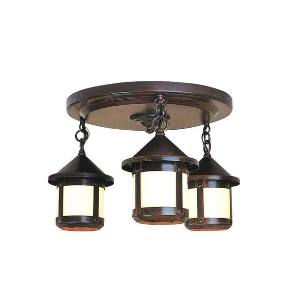 Arroyo Craftsman Exterior Lighting Berkeley short body 3 light ceiling mount