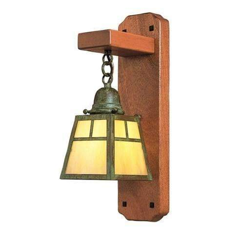 a-line mahogany wood sconce light by arroyo