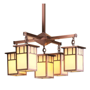 Arroyo Craftsman Interior Lighting Huntington 4 light Chandelier with center light