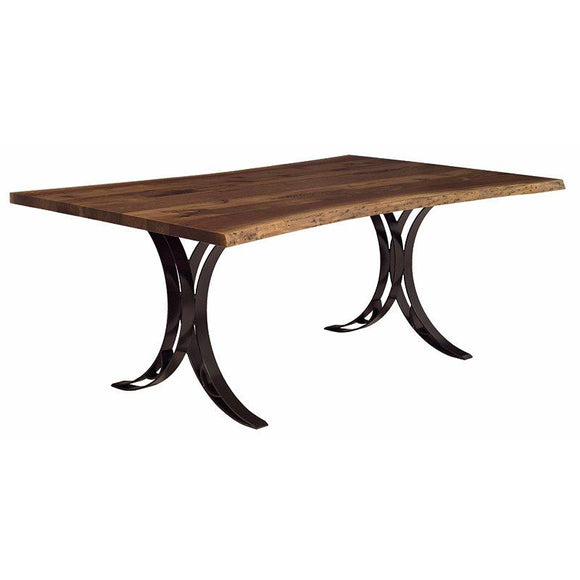 Live Edge Dining Table- Double Curved Base by Barkmans