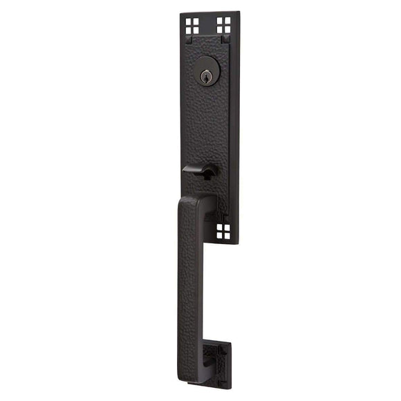 Emtek Hardware Craftsman Entry Lock Set- Flat Black Mortise 2-1/2 (mortise) Left