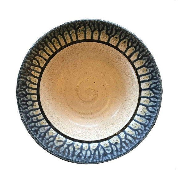 Frank Stofan Decor White Stone Clay Bowl - Blue