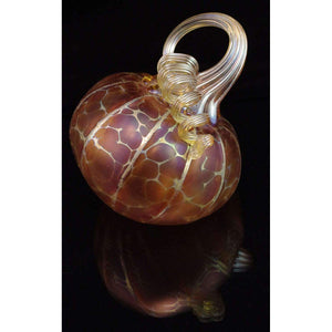 Furnace Glass Works Gifts Tilted Blown Glass Pumpkin in Gold Ruby Regular