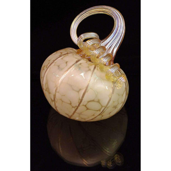 Furnace Glass Works Gifts Tilted Blown Glass Pumpkin in Ivory Regular