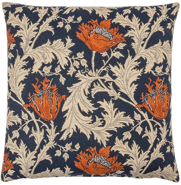 William Morris Anemone Blue Tapestry Pillow by Hines