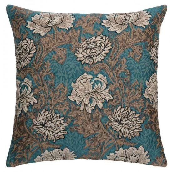 William Morris Chrysanthemum Aqua Tapestry Pillow- 18 inch square by Hines