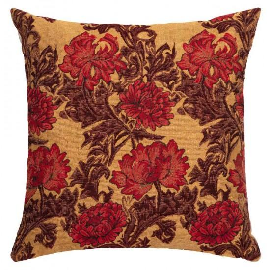 William Morris Chrysanthemum Gold Tapestry Pillow- 18 inch square by Hines