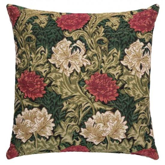 William Morris Chrysanthemum Green Tapestry Pillow- 18 inch square by Hines