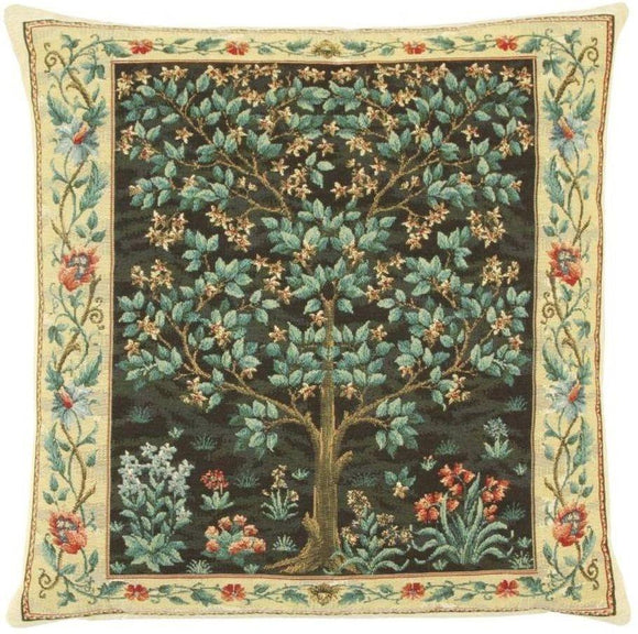 William Morris Tree of Life Black Tapestry Pillow by Hines