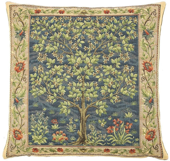 William Morris Tree of Life Blue Tapestry Pillow by Hines