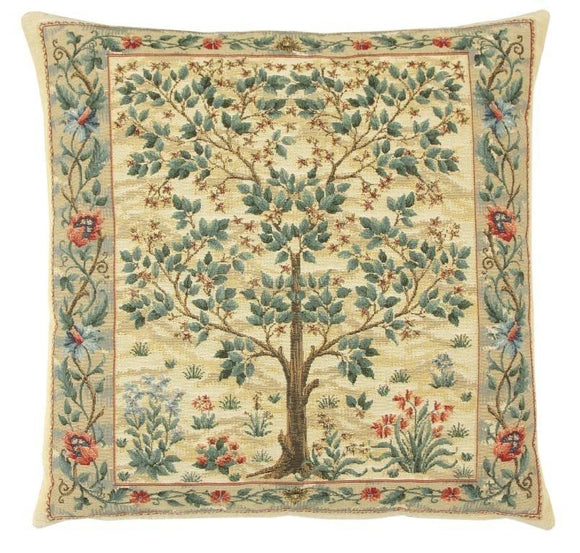 William Morris Tree of Life Cream Tapestry Pillow by Hines