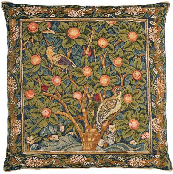 William Morris Woodpecker Tapestry Pillow by Hines