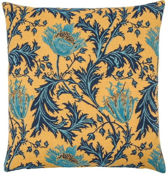 William Morris Anemone Gold Tapestry Pillow by Hines