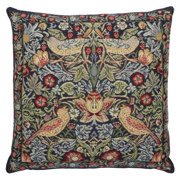 William Morris Strawberry Thief Blue Tapestry Pillow by Hines