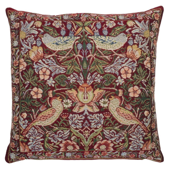 William Morris Strawberry Thief Red Tapestry Pillow by Hines