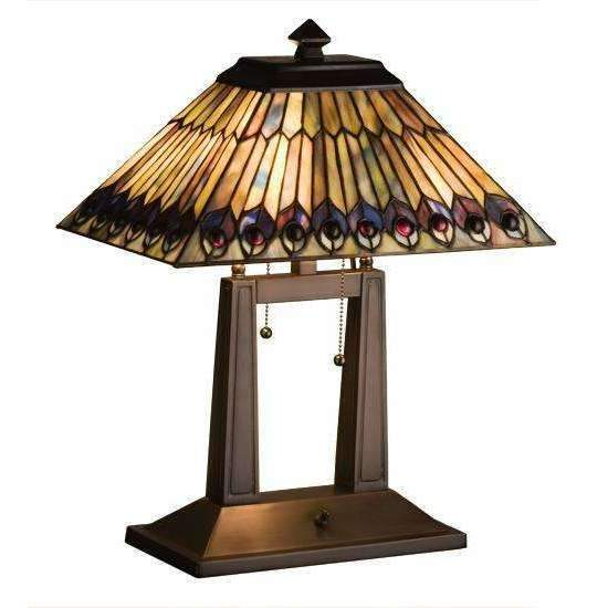 Meyda Lamps Jeweled Peacock Oblong Desk Lamp