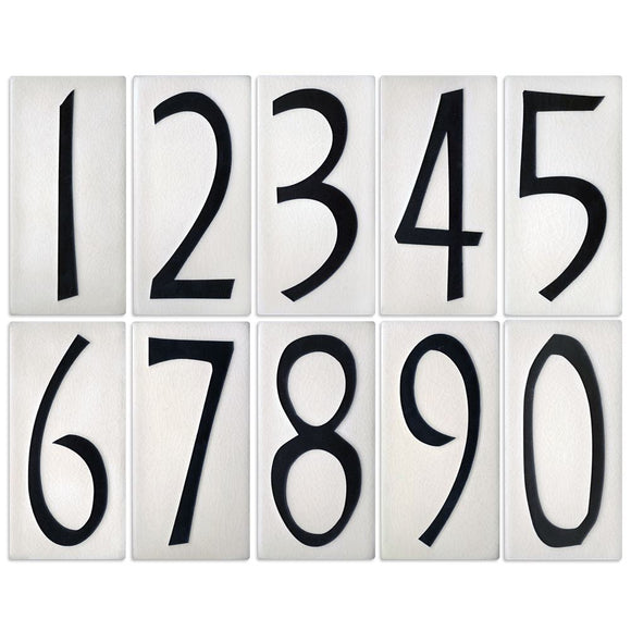 Motawi Exterior Decor White Number Tile