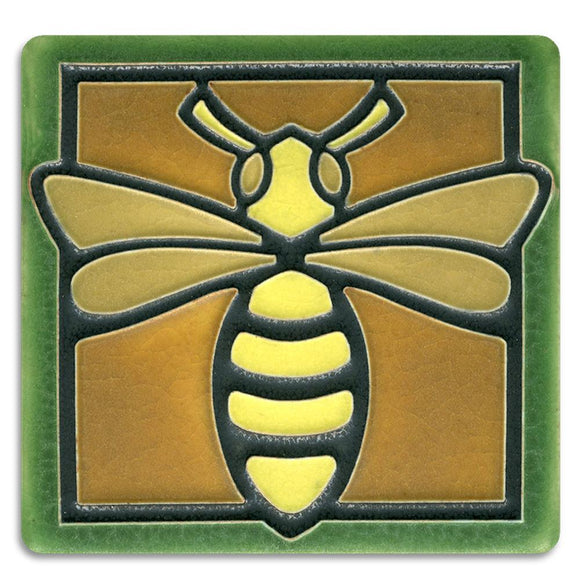 Motawi Gifts Bee Green Tile - 4x4