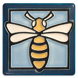 Motawi Gifts Bee Light Blue Tile - 4x4