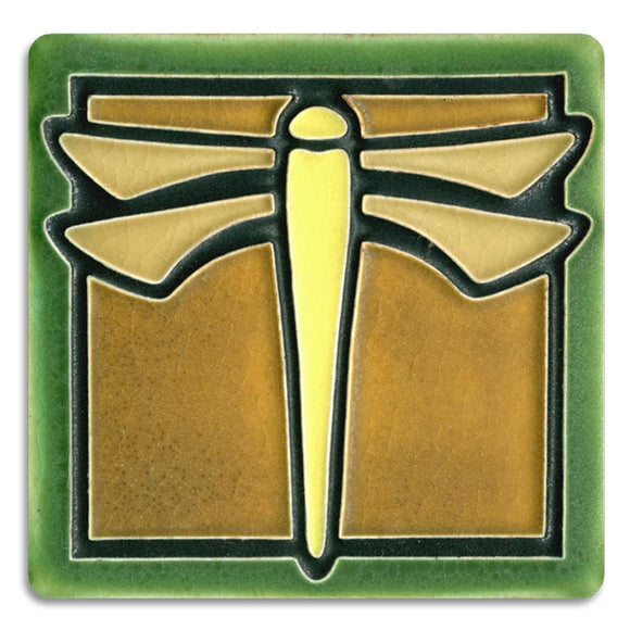 Motawi Gifts Dragonfly Green Tile - 4x4