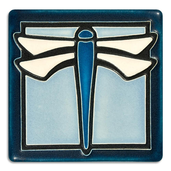 Motawi Gifts Dragonfly Light Blue Tile - 4x4