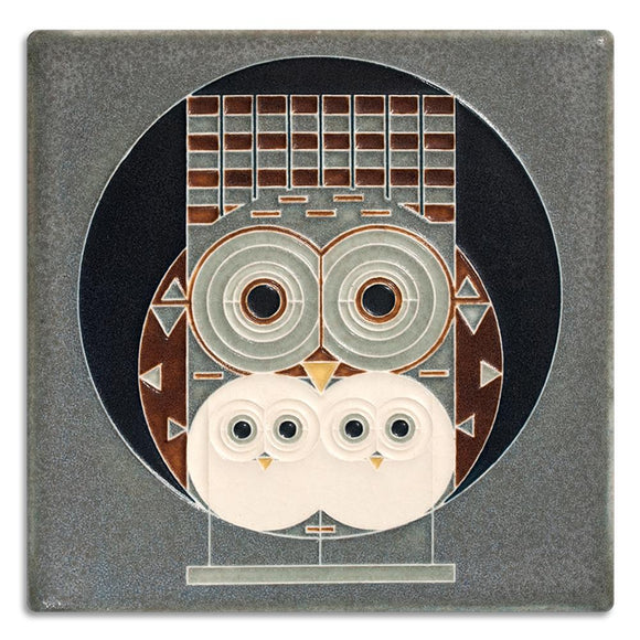 Motawi Gifts Family Owlbum Grey Tile - 6x6