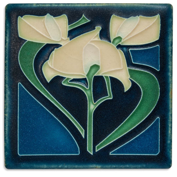 Motawi Gifts Freesia Indigo Tile