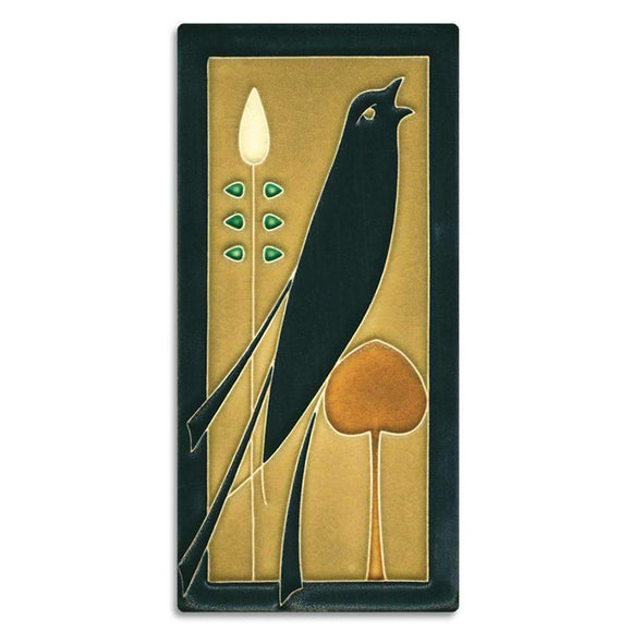 Motawi Gifts Golden Songbird 4x8 Tile - Right Facing