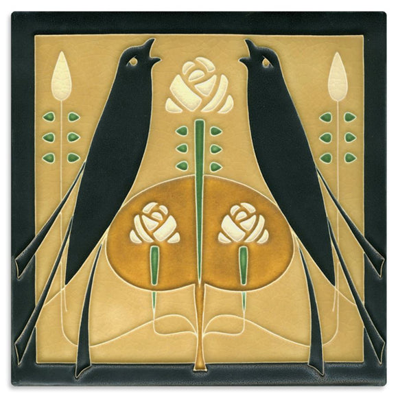 Motawi Gifts Golden Songbirds Tile - 8x8