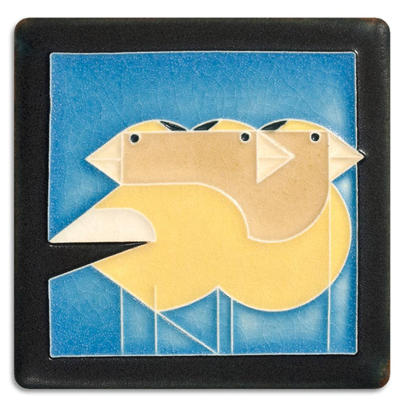 Motawi Gifts Gregarious Grosbeaks Blue Tile - 4x4