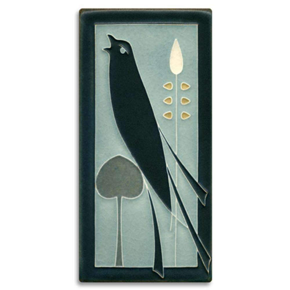 Motawi Gifts Grey Blue Songbird 4x8 Tile - Left Facing