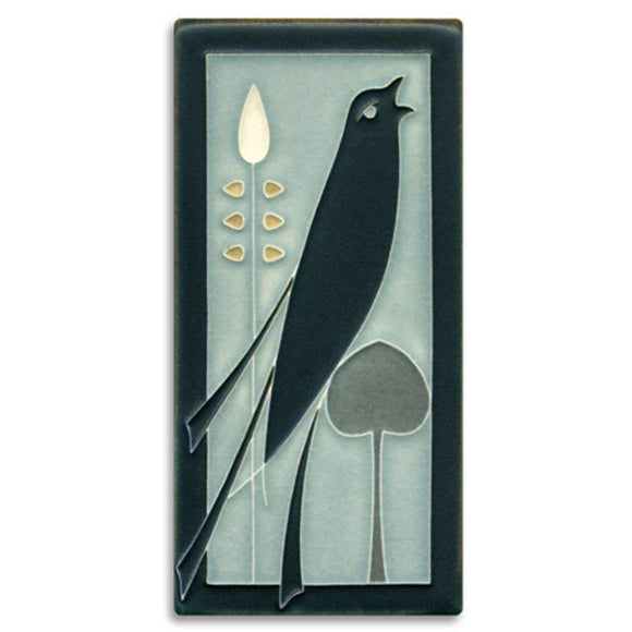 Motawi Gifts Grey Blue Songbird 4x8 Tile - Right Facing