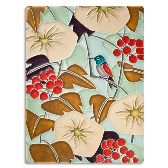 Motawi Gifts Hummingbird Soft Blue Tile - 6x8