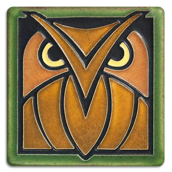Motawi Gifts Owl Green Oak Tile - 4x4