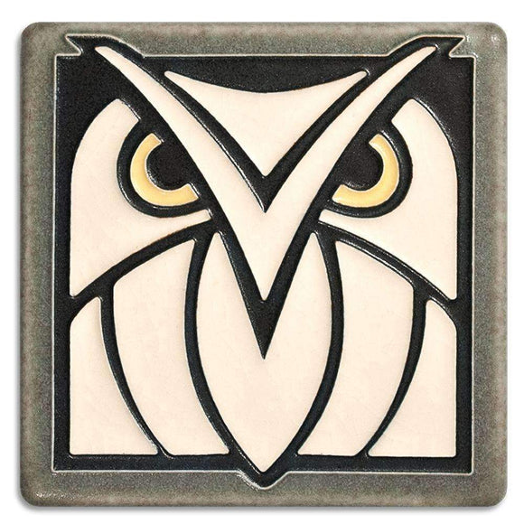 Motawi Gifts Owl White Grey Tile - 4x4