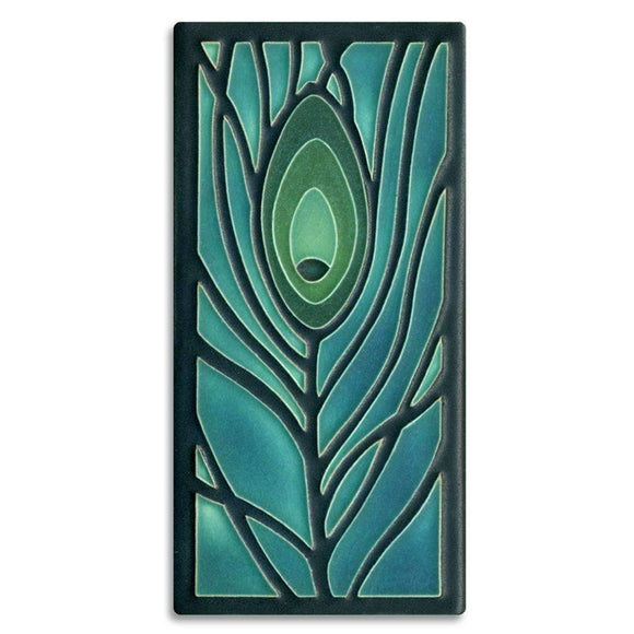 Motawi Gifts Peacock Blue Feather Tile - 4x8