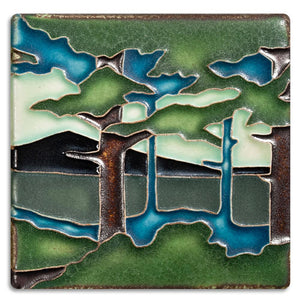 Motawi Gifts Pine Landscape Mountain Tile - 4x4