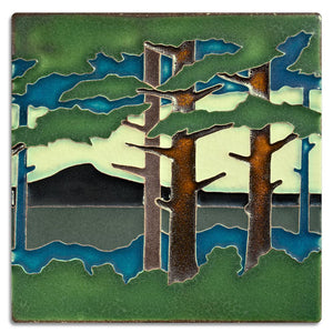 Motawi Gifts Pine Landscape Mountain Tile - 6x6