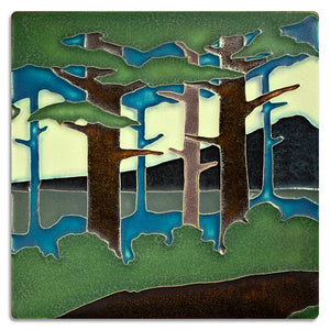 Motawi Gifts Pine Landscape Mountain Tile - 8x8