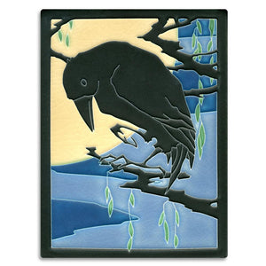 Motawi Gifts Raven Midnight Tile - 6x8