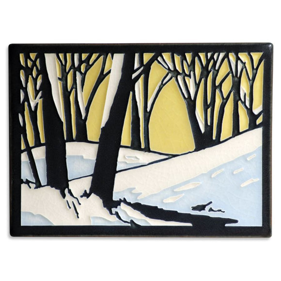 Motawi Gifts Snowscape Dawn Tile - 6x8