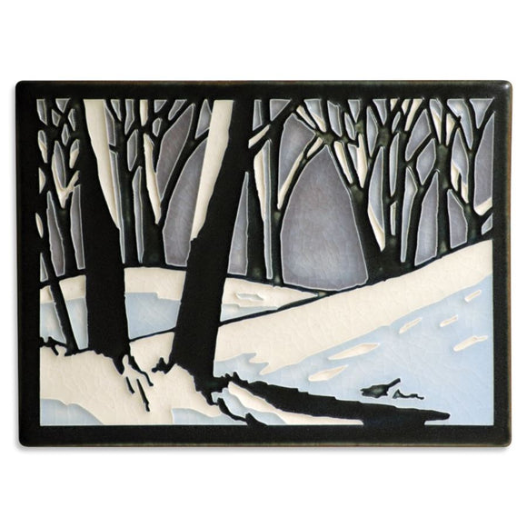 Motawi Gifts Snowscape Twilight Tile - 6x8