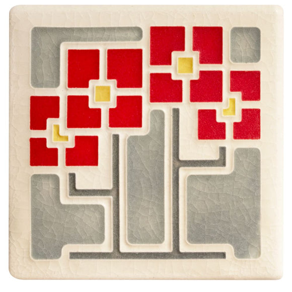 Square Flowers Red - 4x4 by Motawi