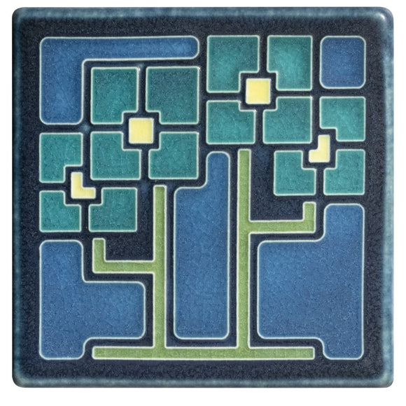 Square Flowers Turquoise - 4x4 by Motawi